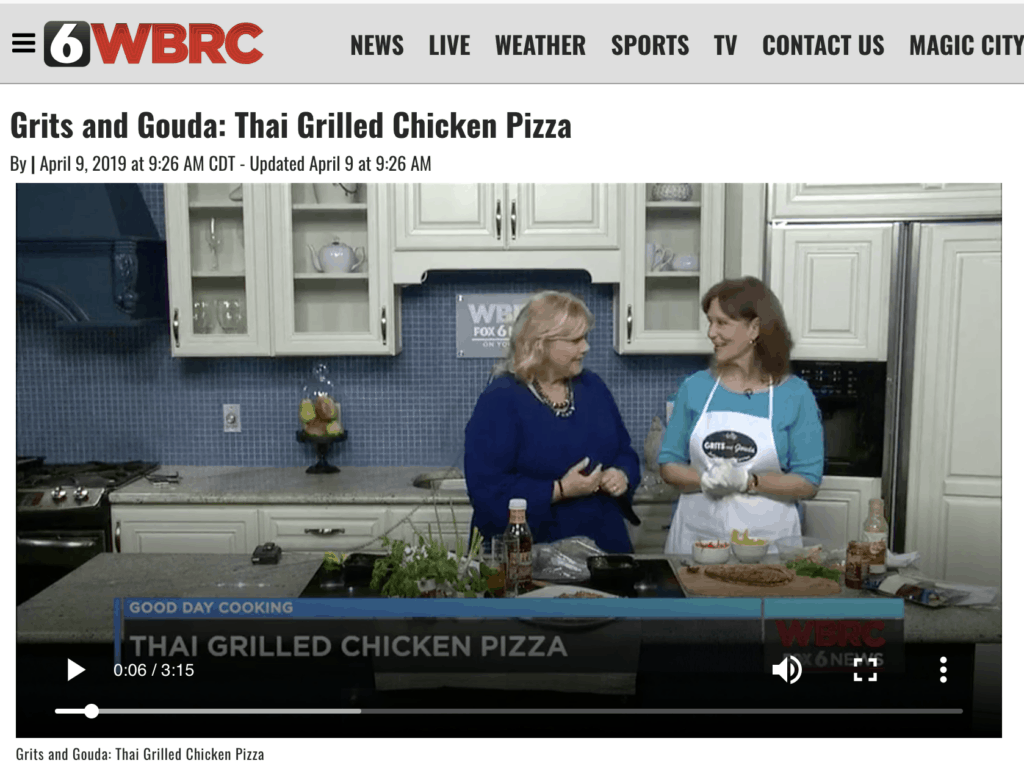 Good Day Alabama segment with Kathleen Phillips and Janice Rogers making Thai Grilled Chicken Pizza