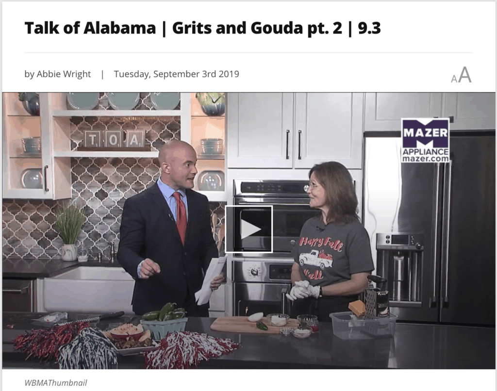 Video clip picture of Kathleen Royal Phillips and Stoney Sharp on ABC 33/40's Talk of Alabama making Jalapeno Pimiento Cheese