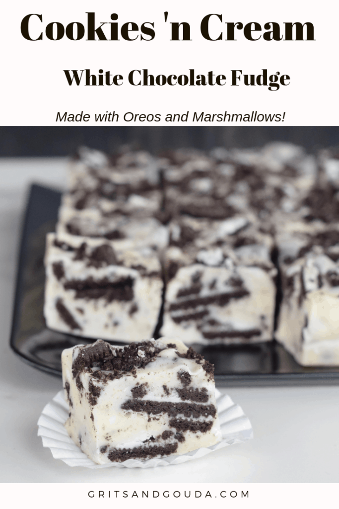 Cookies n Cream White Chocolate Fudge. No Candy thermometer needed! I tell you how to make it with a shortcut, too! Its so rich you can cut it into small pieces for gift giving.