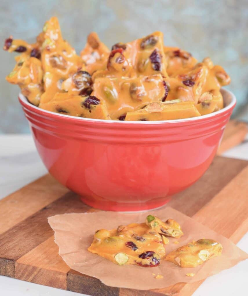Cranberry Pistachio Brittle made in the microwave in just minutes!
