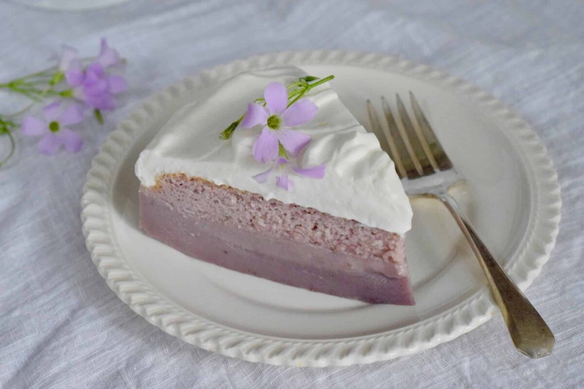 purple sweet potato magic cake slice