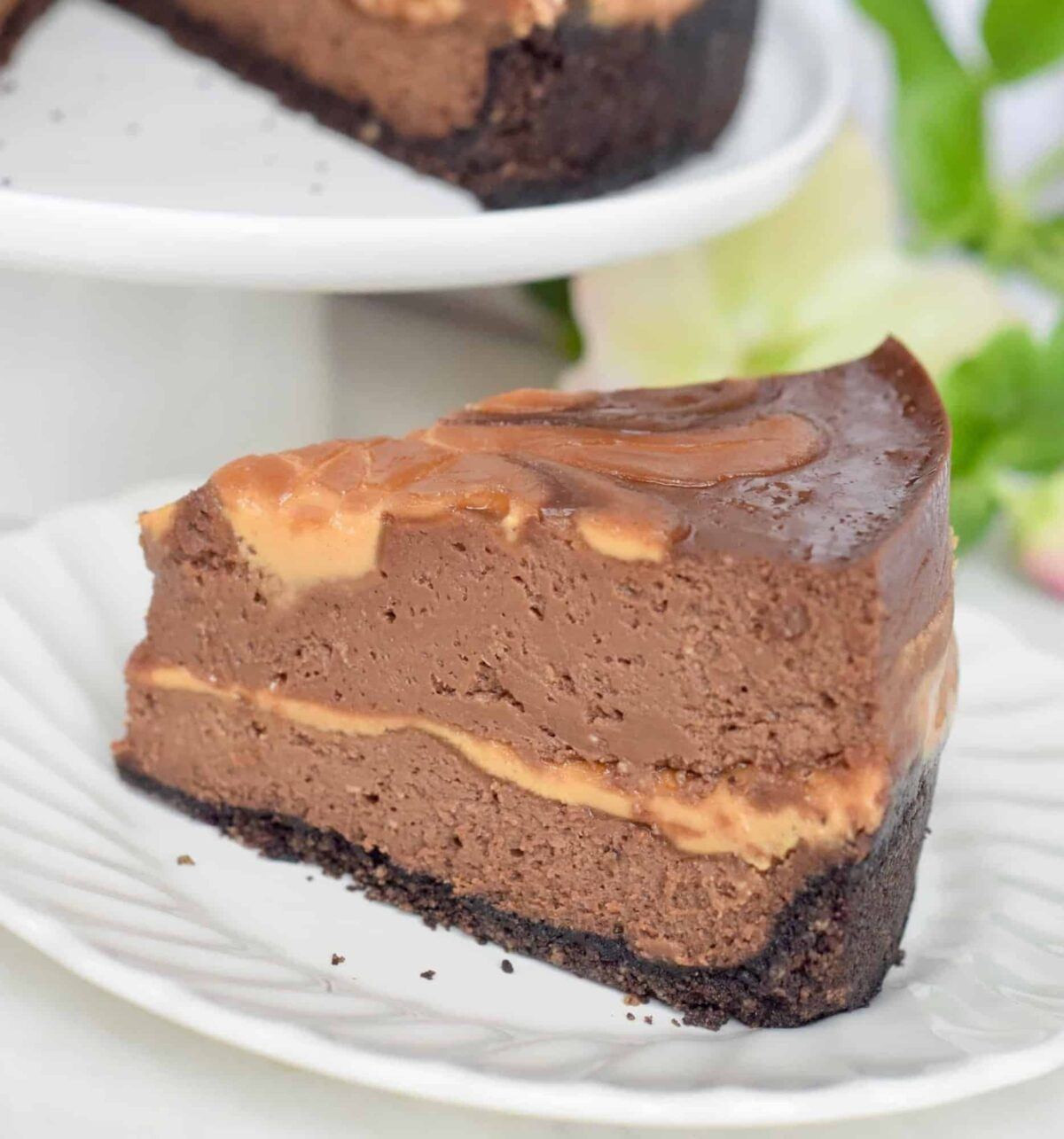 Chocolate-Peanut Butter Swirl Cheesecake slice. whole cheesecake behind it