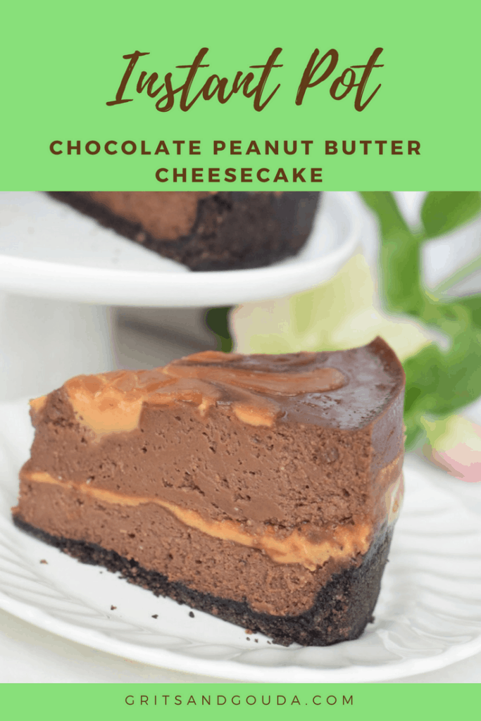 Instant Pot Chocolate-Peanut Butter Swirl Cheesecake. Did you know the pressure cooker is the perfect environment for a cheesecake to bake? No cracks. No fail. Slice of cheesecake on white plate