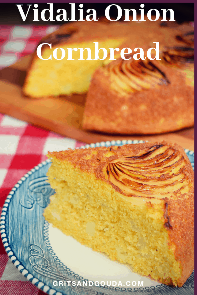 Vidalia Onion Cornbread.The onions caramelize in the bottom of the skillet as it bakes! Slice and serve on antique blue willow dishes.