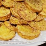 Fried Yellow Squash draining on paper towels Close up