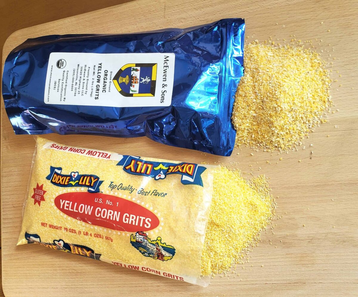 regular and stone ground grits spilled out onto a cutting board