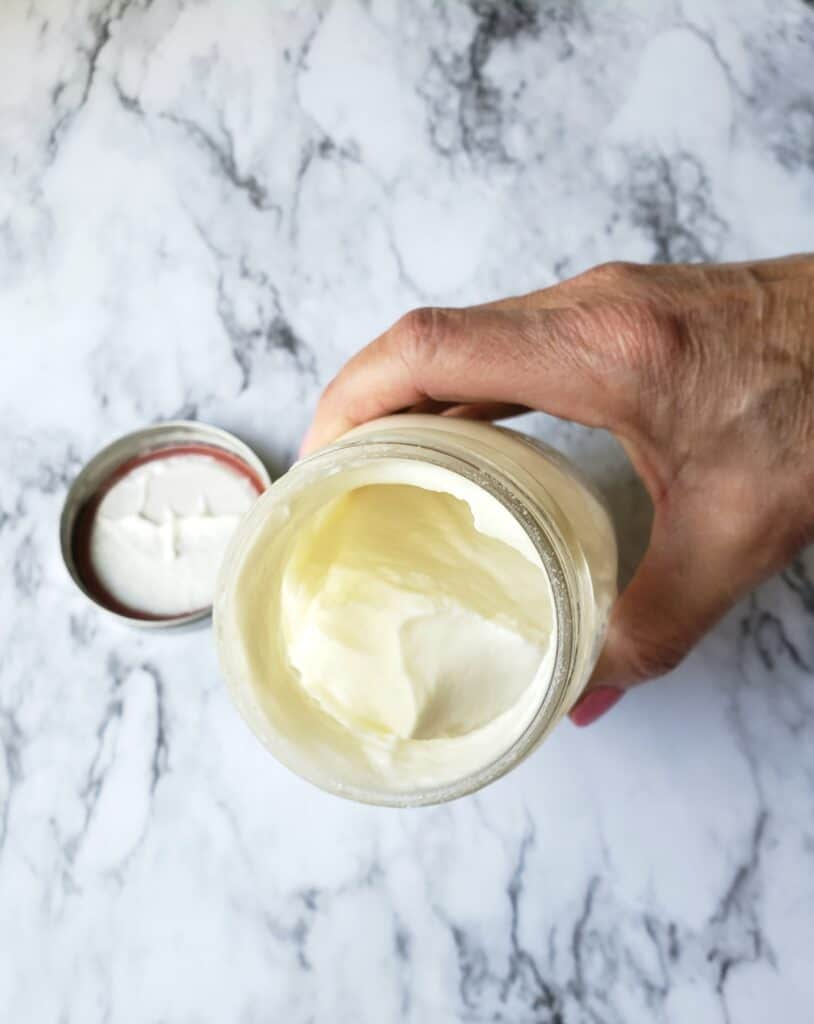 homemade butter in whipped cream stage still in jar