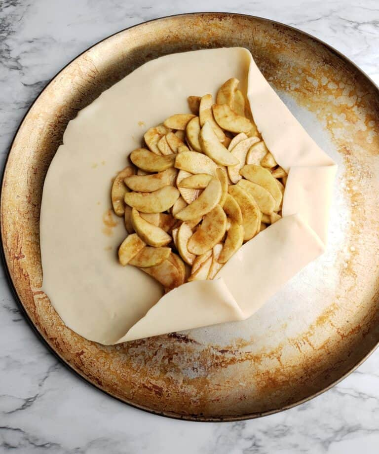 apple galette fold over of pie crust