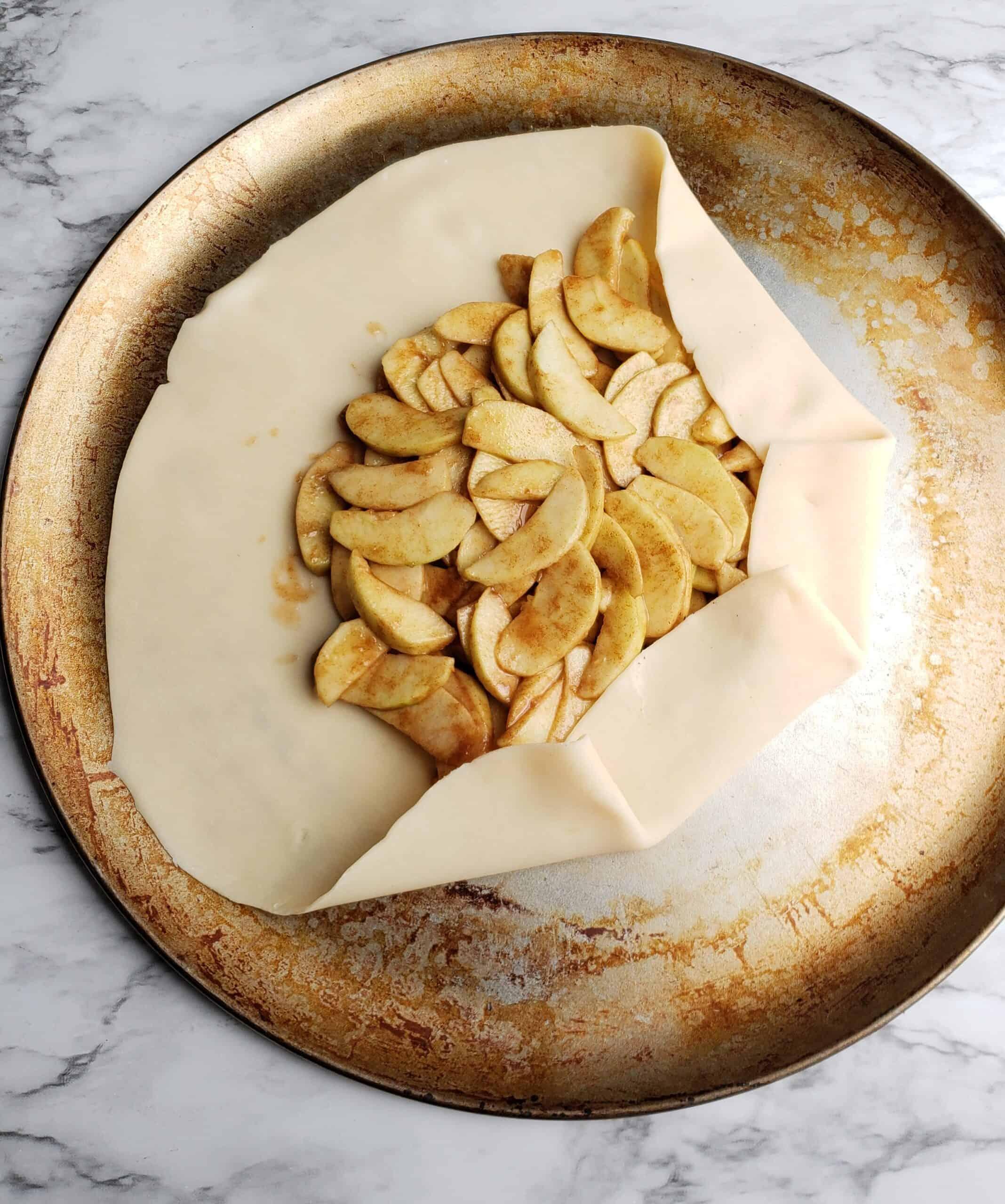 apple galette fold over of pie crust