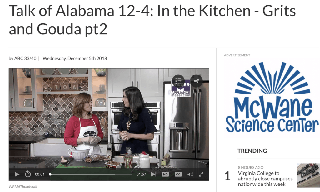 Talk of Alabama Christmas Food Gifts segment Part 2 with Kathleen Phillips, creator of the blog GritsandGouda.com and host Nicole Allshouse