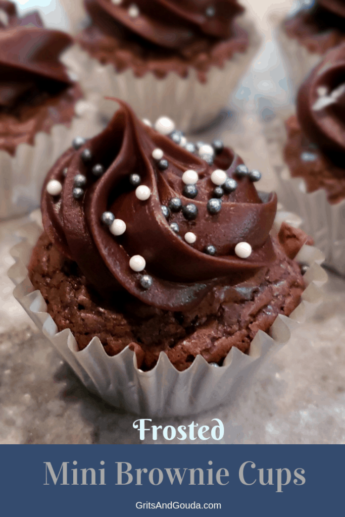 You can make these year 'round and in many sizes to match the occasion and your appetite! This little bite is a double chocolate brownie topped with a luxurious dollop of chocolate frosting and sprinkled with silver and white round sprinkles. You won't believe the shortcut in this recipe!