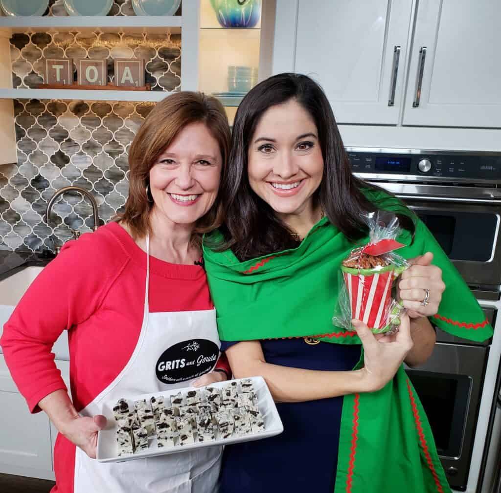 3 Ingredient Cinnamon Sugar Toasted Pecans ready and Cookies n Cream White Chocolate Fudge for Christmas gifting with Kathleen Phillips and Nicole Allshouse holding them