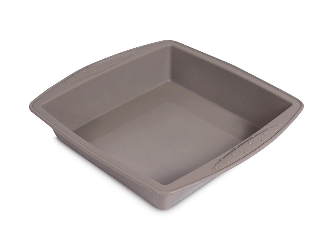 "Tan Silicon 9"" square pan from Amazon"