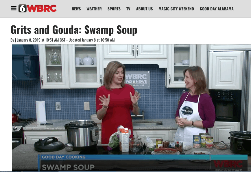 Good Day Alabama with Claire Huddleson and Grits and Gouda's Kathleen Phillips. Beans and Greens video screenshot in tv kitchen