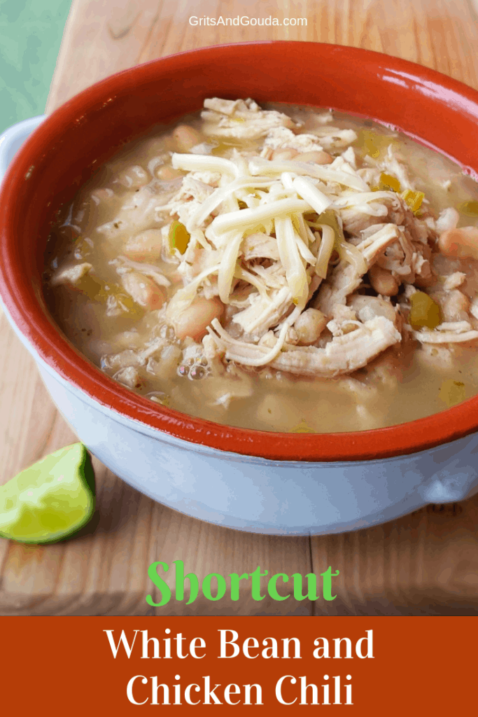 Shortcut White Bean Chicken Chili has all the flavor of slow cooked beans and chicken but uses canned beans so you can get dinner on the table quicker! A lime squeezed over the top and sprinkled with Monterey Jack Cheese is over the top good