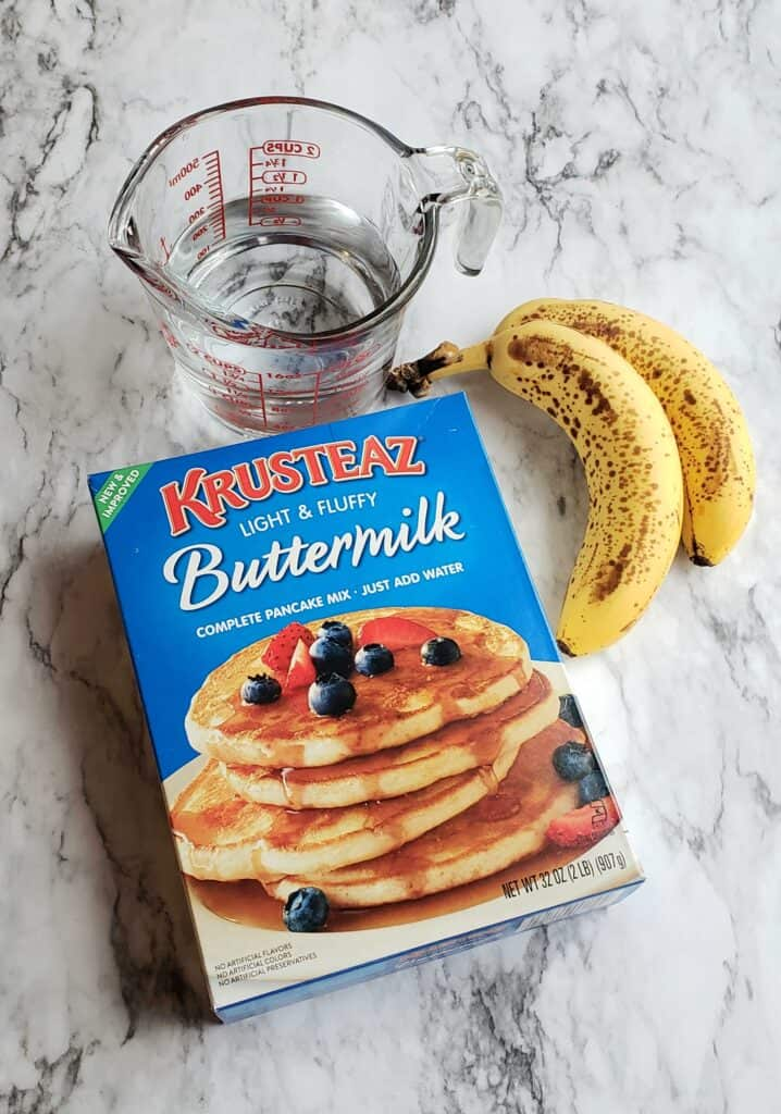 My favorite pancake mix is Krusteaz. For Banana pancakes, make sure the bananas are very ripe.