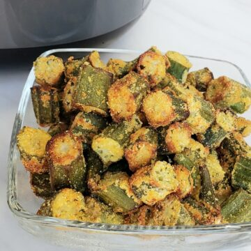 glass bowl of fried okra