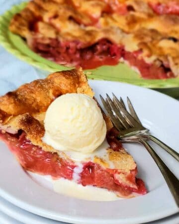 Shortcut Strawberry Rhubarb Pie is easy to make with refrigerated pie crusts! Add a scoop of vanilla ice cream