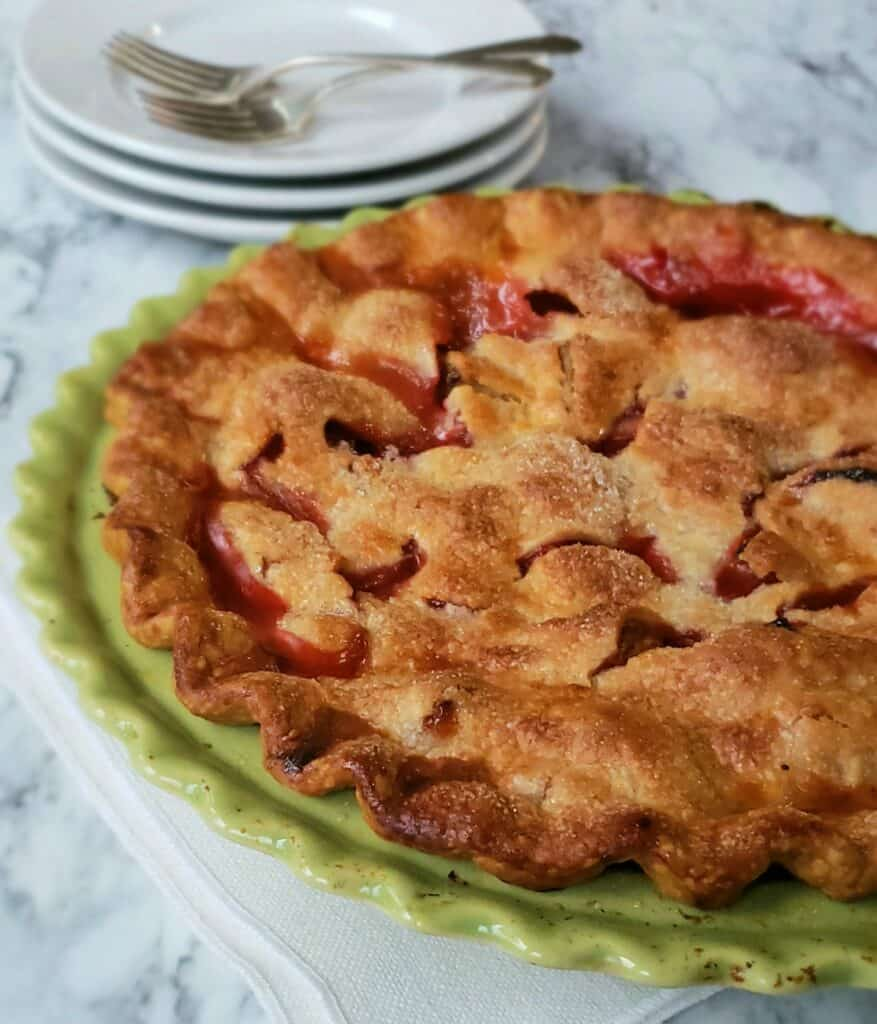 Shortcut Strawberry Rhubarb Pie before diving in and scooping out yummy goodness!