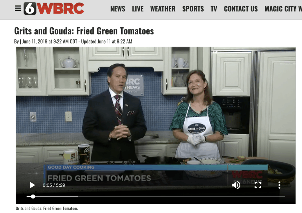 Kathleen Phillips with Mike Dubberly on Good Day Alabama making Fried Green Tomatoes