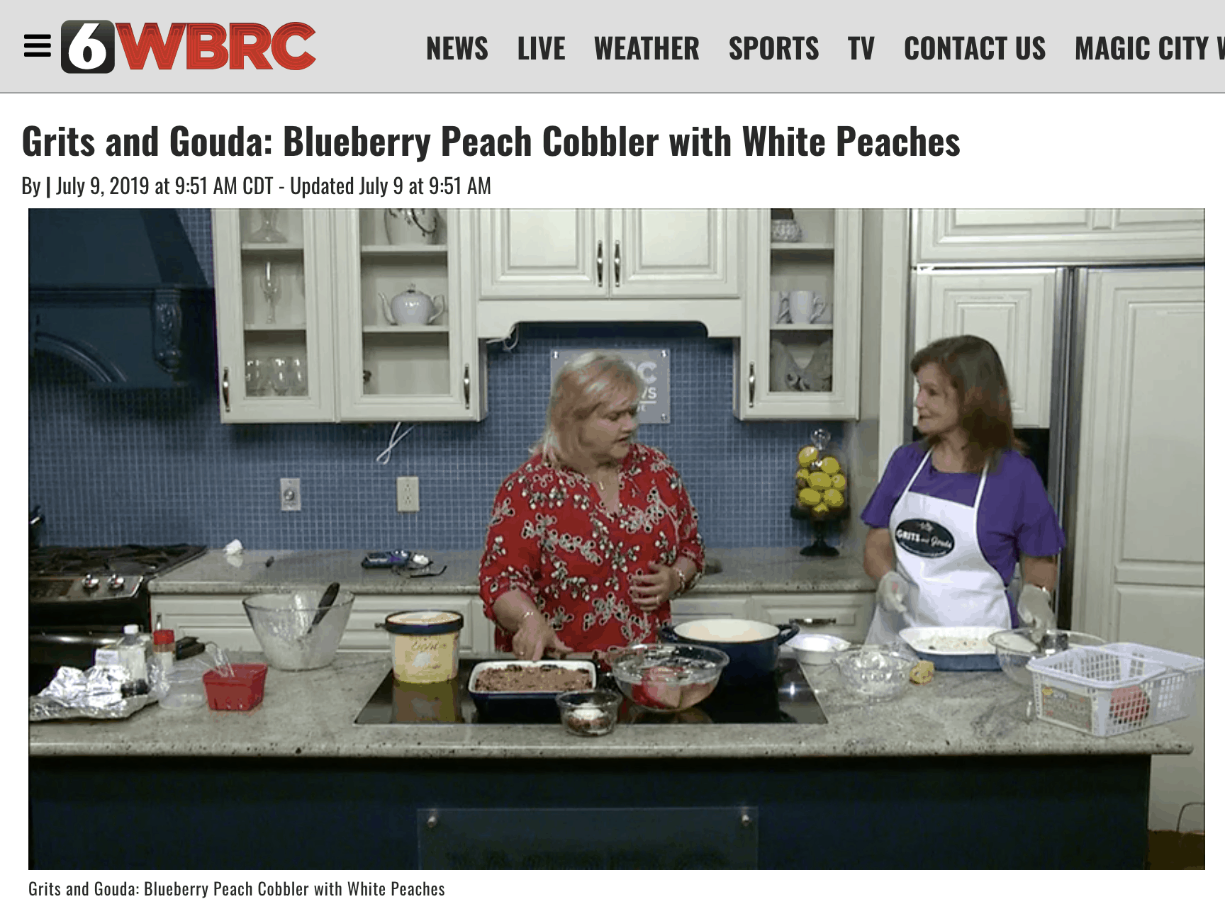 Picture of Kathleen Royal Phillips and Janice Rogers on Good Day Alabama making blueberry peach cobbler