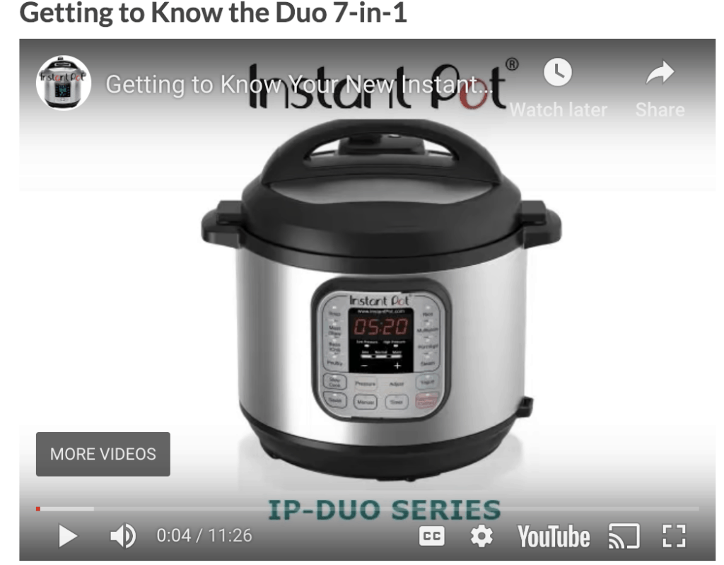 Getting to know the Instant Pot 7 in 1 duo video