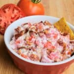 Bacon Tomato Dip sliced and whole tomato