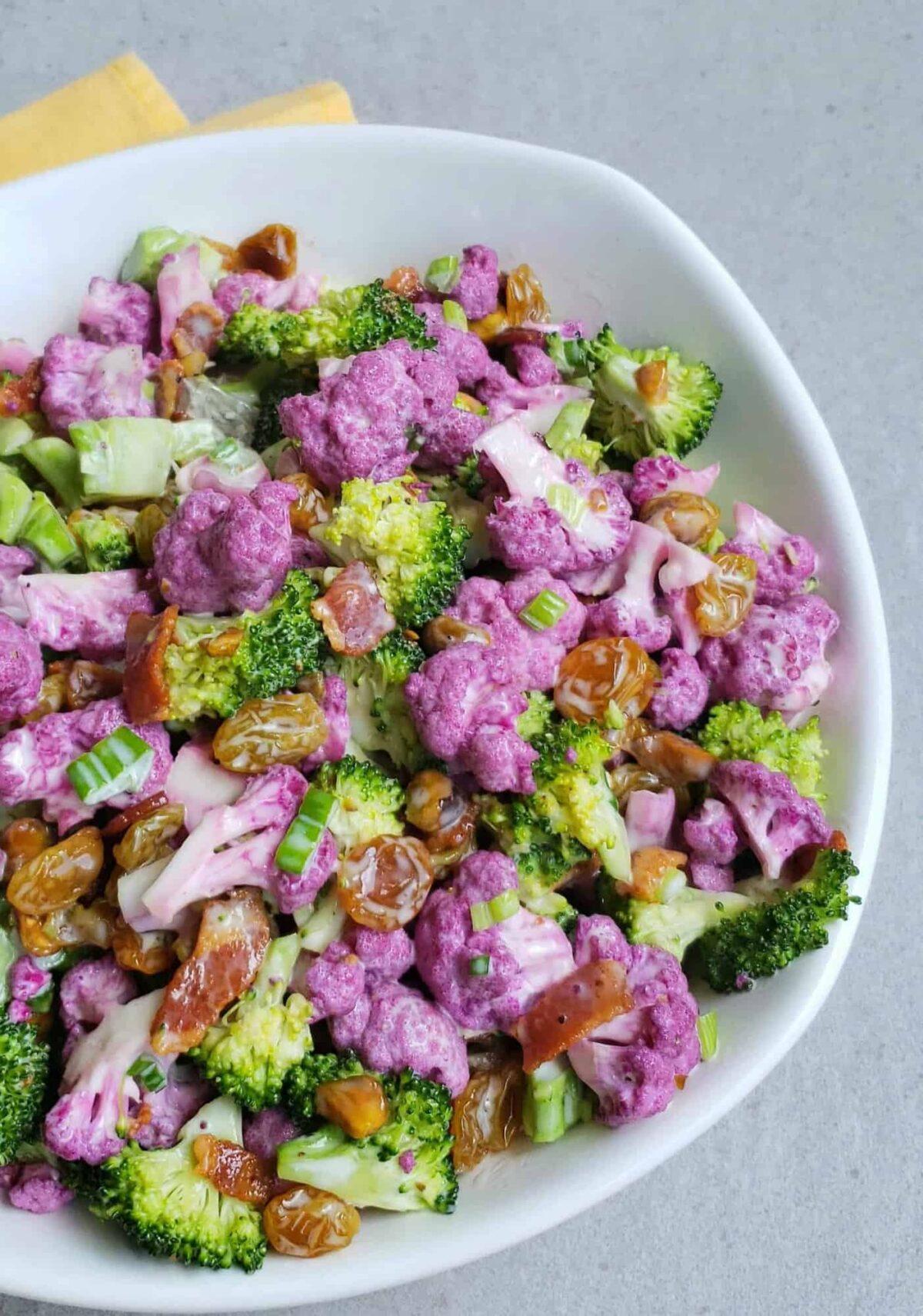 Broccoli Raisin and Purple Cauliflower Salad Pinterest pin