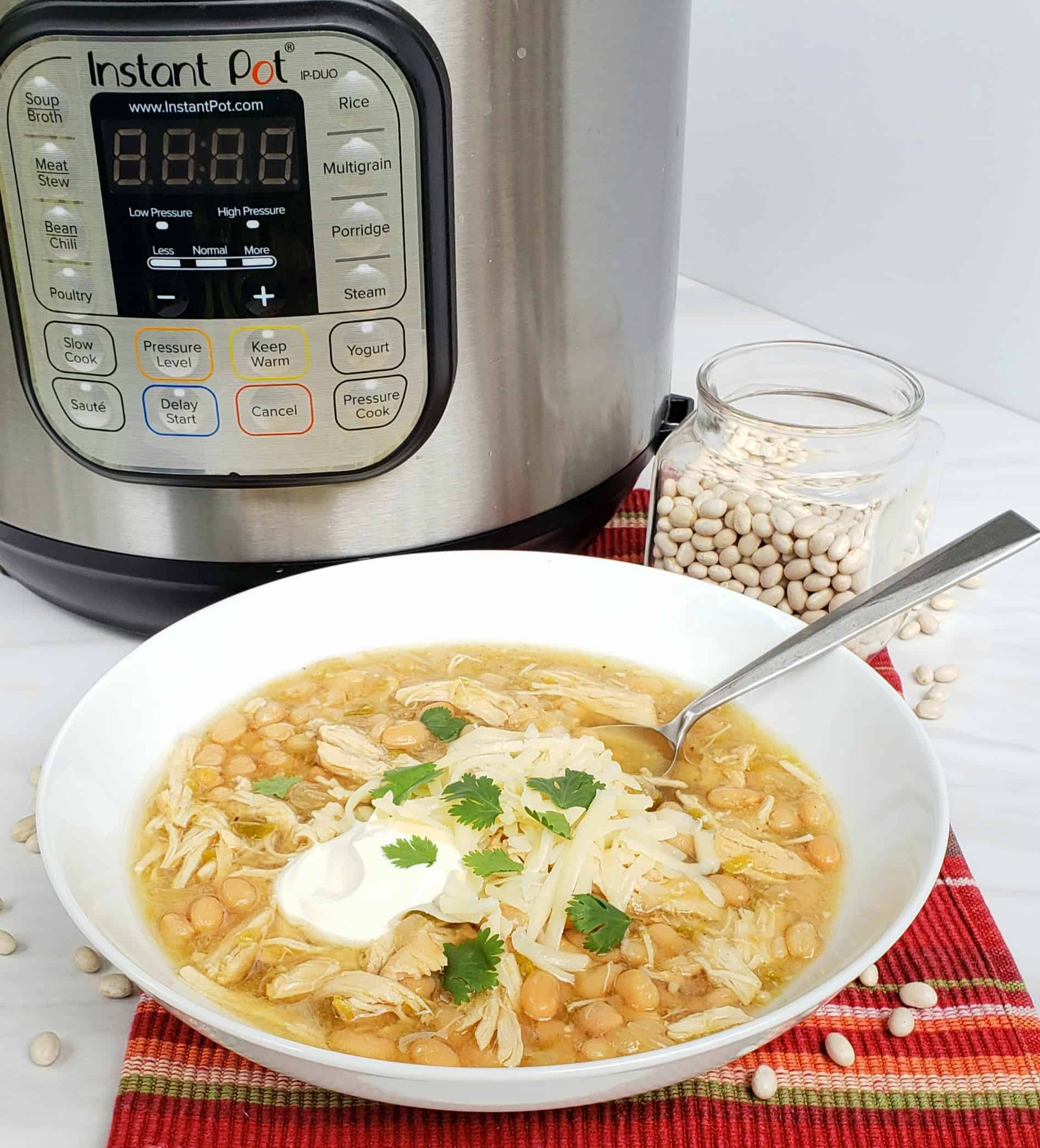 White Bean and Chicken Chili with Instant Pot in background