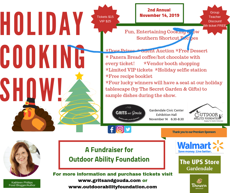 Grits and Gouda's Holiday Cooking Show flyer with teacher discount