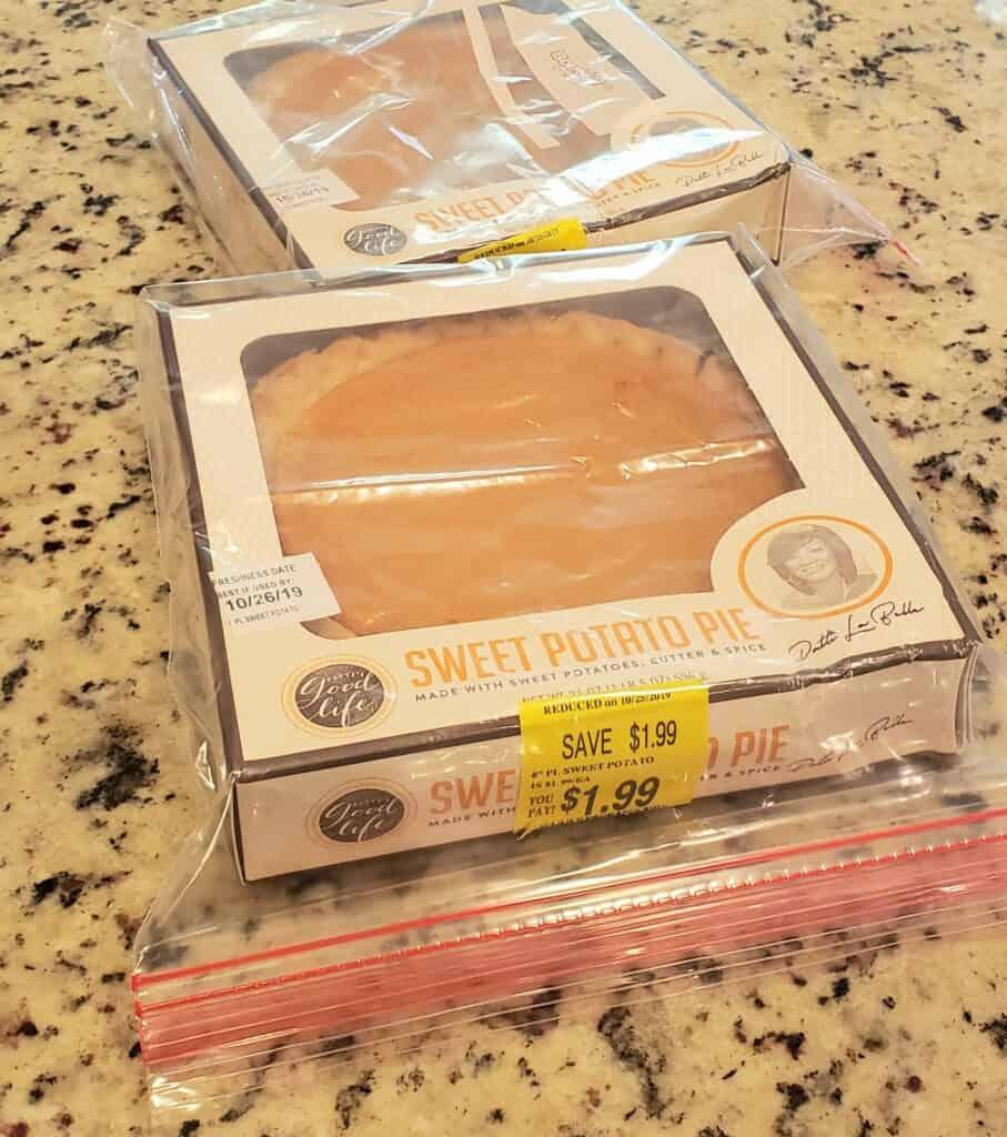 store bought pumpkin pie in ziplock bags