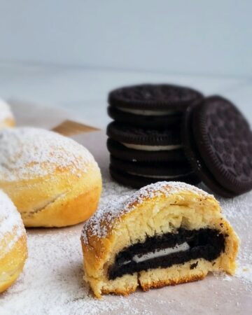 air fryer fried oreos with stack of cookies