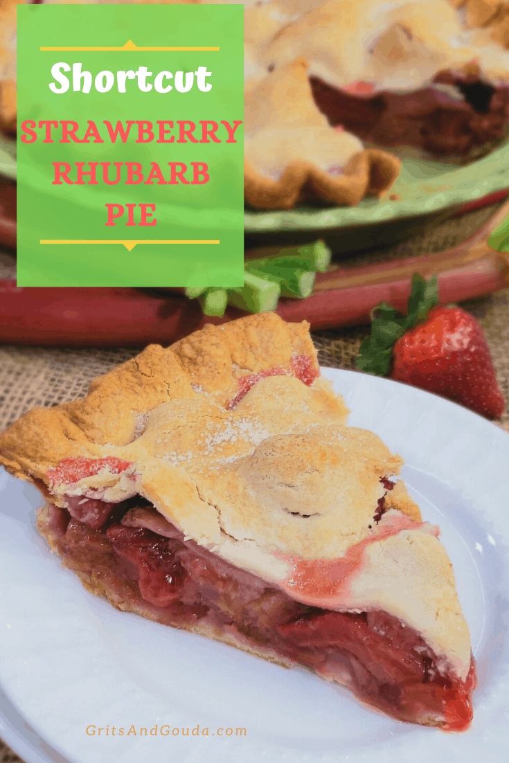 slice of strawberry rhubarb pie on white plate. pie in background Pinterest post
