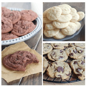 collage of 3 plates of cookies