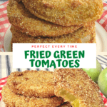 Pinterest pin for fried green tomatoes with bite out of one