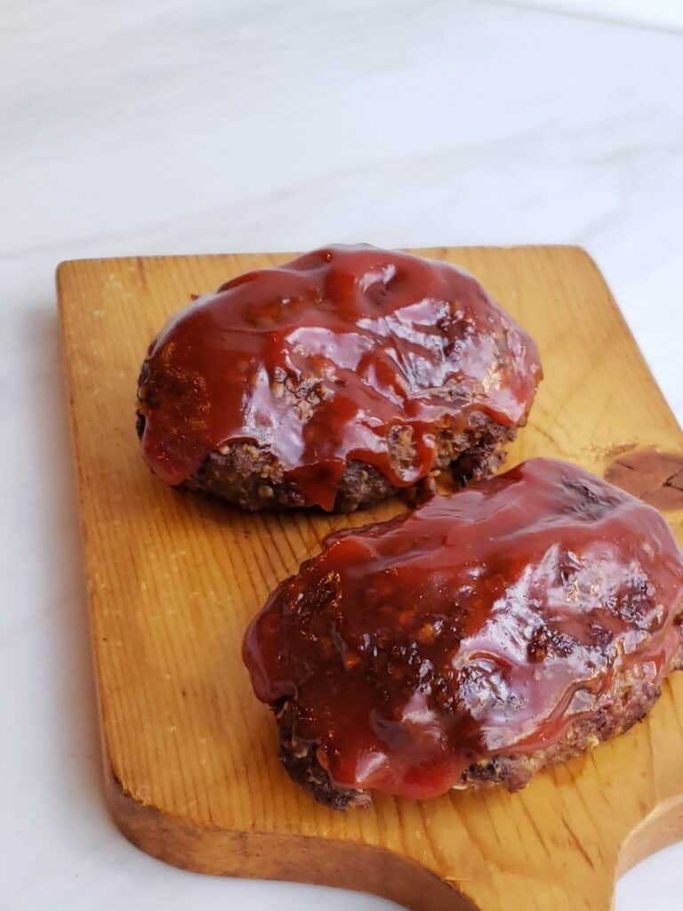 Best Air Fryer Meat Loaf with Tangy Sauce close up