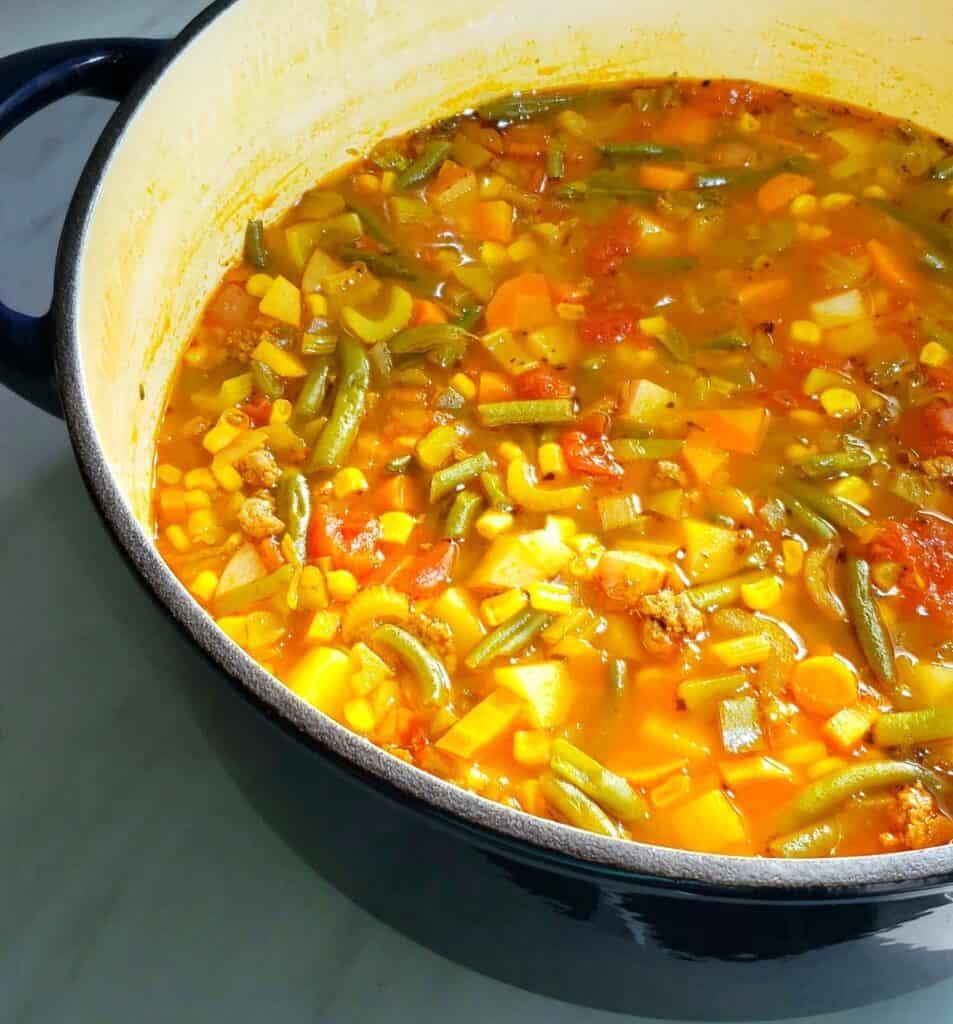 an enamel-coated pot full of vegetable soup