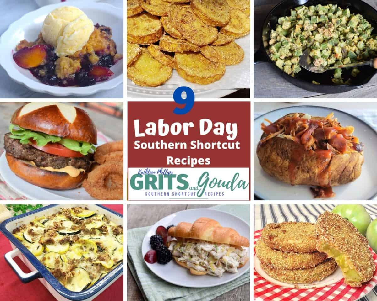Pinterest pin: 9 images of recipes for labor day