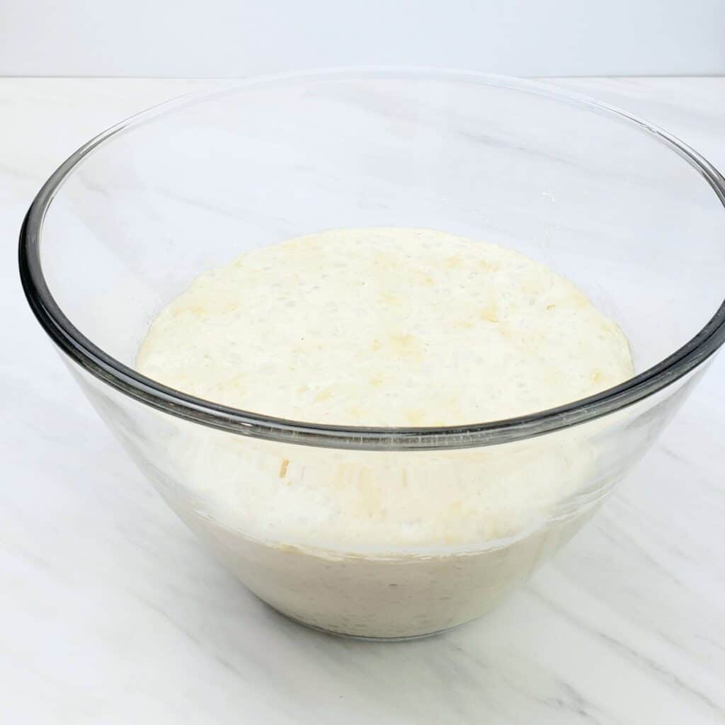 Yeast dough rising in a clear bowl