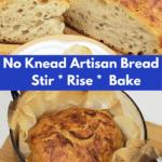 Pinterest Pin for No Knead Artisan bread