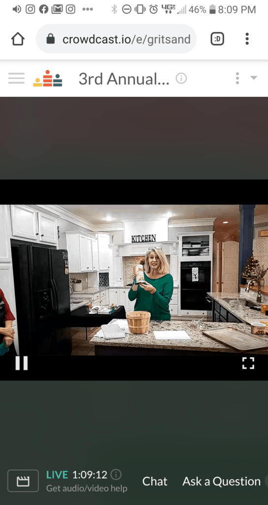 Blonde lady in screenshot holding can of peanuts