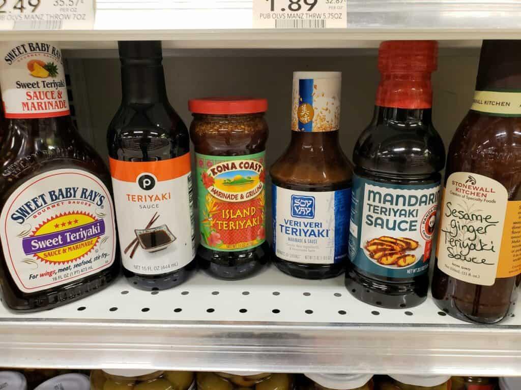 Six bottles of different Teriyaki sauce