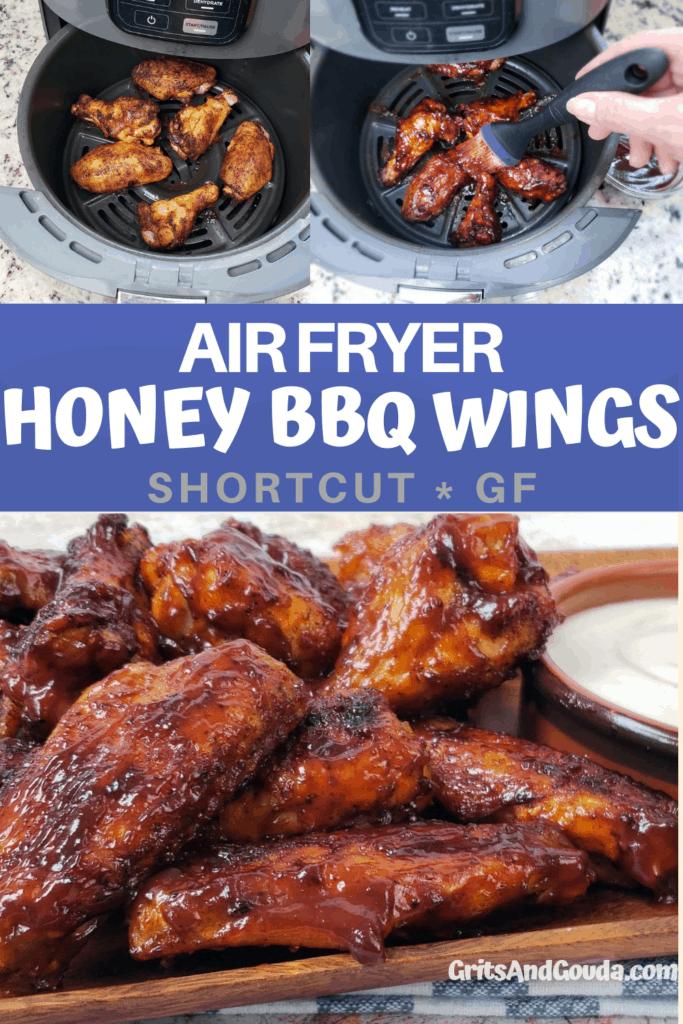 Pinterest pin for Honey BBQ Wings recipe